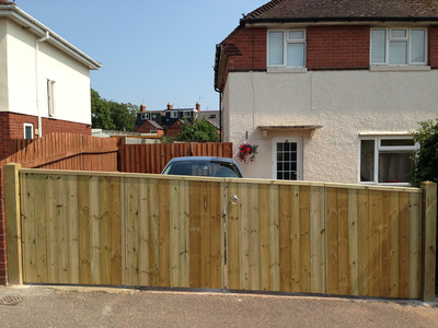 timber gates on driveway