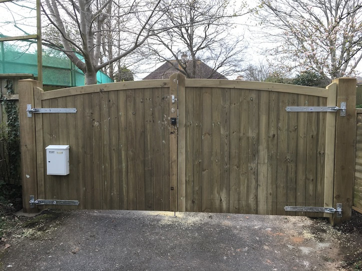 double width timber gate on driveway